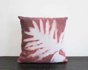 One of a Kind Modern Sepia and Cream Hand Dyed Palm Leaf Sunprint Canvas and Wool Throw Pillow