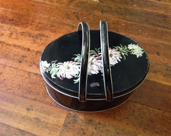 Vintage Black Metal Sewing Tin, Oval Tin with Handles
