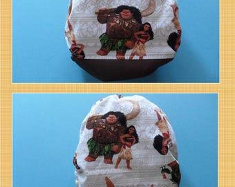 SassyCloth one size pocket diaper with Moana cotton print. Ready to ship.