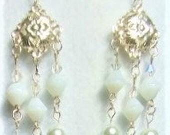 White Pearl Look Chandelier Earrings by BFJDESIGNS