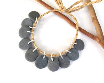 Stone Beads Top Drilled Rock Beads Diy Jewelry Making Mediterranean Beach Stone Natural Stone Beads Rock Pairs MISTY GRAY CHARMS 15-16 mm