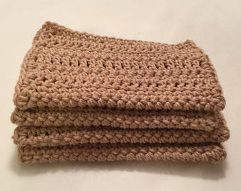 4 Large dish cloths/ dish rags/ wash cloths made with 100% cotton yarn Linen ( tan)