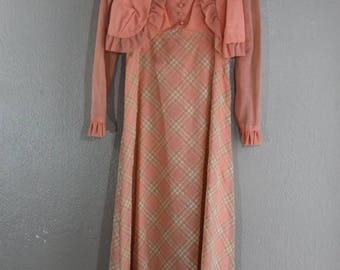 SALE vintage maxi dress in peach plaid with matching shrug- set