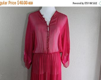 SALE sheer pink vintage dress with pleated skirt- bohemian casual cute
