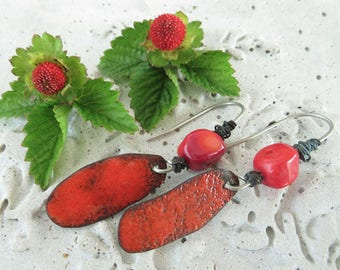 Red enamel, coral and recycled wire dangling earrings