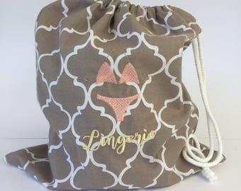 Embroidered Lingerie Bag