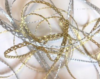 Metallic Silver and Gold Trim, Narrow Mesh Ribbon, 1/8 in. wide, 5 YARDS, Metallic and Polyester, Ornament Ribbon, Gift Ribbon, Made in USA