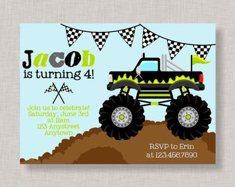Monster Truck Invitation, Monster Truck Birthday, Monster Truck Party, Printable