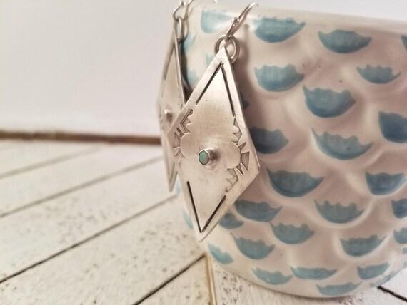 Stamped Diamond Sterling and Opal Dangle Earrings, Sterling Silver Reborn Geometric Earrings