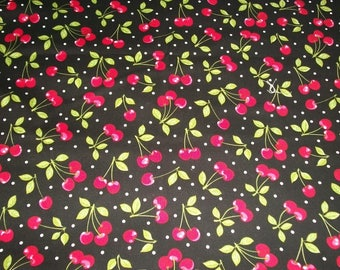 Cherry Fabric, By The Yard, Crafting Sewing Fabric, Fruit Basket Collection, Red Cherries Fabric, Novelty Fabric, Red Black Fabric