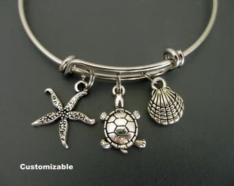 Turtle Bracelet / Turtle Bangle / Beach Charm Bracelet / Ocean Bangle / Sea Star Bangle / Adjustable Charm Bracelet / Expandable Bangle