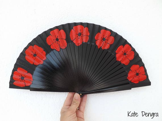 Black with Red Poppy Hand Fan