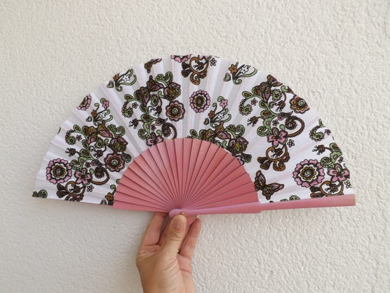 Pale Pink Paisley Design Spanish Hand Fan Limited Edition