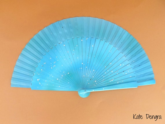 Seaside Glimmer Glitter Hand Fan