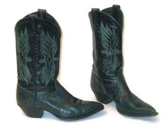 80s Green Boots, Green Black Boots, Leather Cowboy Boots, Western Boots,  1980s Leather Boots, Green Leather Boots, Tony Lama Boots