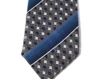 60s Skinny Tie, Narrow Tie, Blue Gray Tie, Skinny Striped Tie, 1960s Mad Men Tie, Silver Gray Blue Tie, Unlined Tie