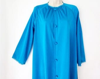 Turquoise PETITE Robe/ VANITY FAIR/ Covered Buttons/ Retro House Coat /  3/4 Sleeve At Home Wear Robe/ Size Petite/ Turquoise Duster