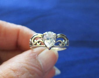 Sterling Silver and Pear Shaped CZ Ring Size 9