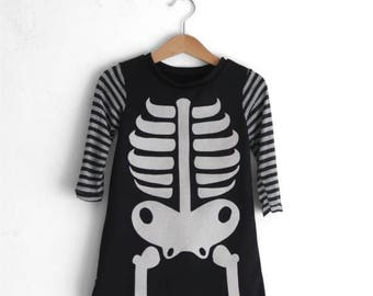 Girls halloween costume, skeleton costume, skeleton dress, halloween costume toddler girl, bones dress, day of the dead costume, fancy dress