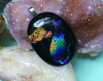 Handmade Black Rainbow Dichroic Glass Pendant 1.5inch , Comes on Stainless Steel Chain (Crystals are Display-Only)