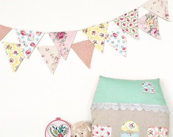 ON SALE Pastel Petite Shabby Chic Fabric Bunting, Banner, Garlands (set of 2)