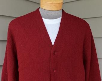 "vintage 60's - 70's -Janzten- Men's cardigan sweater. Burgundy - Wool / Mohair blend.  ""Three Under Golf Collection"". Medium - Large"