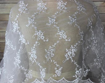 White Bridal Lace Fabric with Cluster of Small Flowers with Scalloped Edges-Christening Gown-Wraps-Bridal Wear-Clutch Purse-Bridal Headpiece