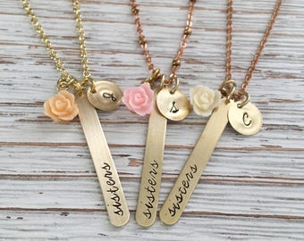 Hand Stamped Necklace, Sister Necklace, Sister Jewelry, Best Friend Jewelry, Gift for Sister, Bridesmaids Gift, Bridal Party Gift, Jewellry