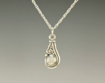 P740- Sterling Silver Moissanite Pendant- One of a Kind