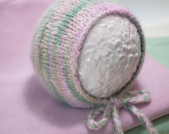 """Angora Newborn Baby Bonnet for Baby Girl """"English Garden"""" in Greens, Pinks, and Tans with Optional Wrap Sets Luxury Angora Photo Prop Set"""