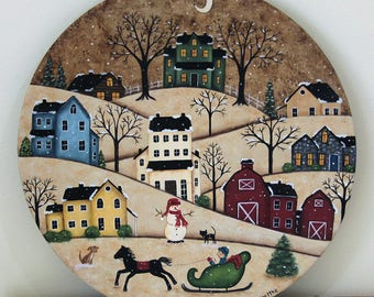 Christmas Folk Art Painting, Primitive Wood Plate, Winter Country Scene, Saltbox House, Farmhouse Decor, Snow, Horse, Sleigh, MADE TO ORDER
