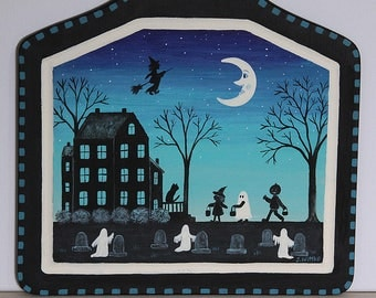 Halloween Folk Art Hand Painted Bread Board, Trick or Treaters, Spooky Saltbox House, Graveyard, Ghosts, Witch Full Moon, READY TO SHIP