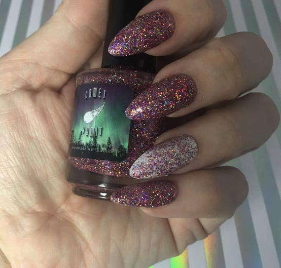 Aliens Believe in Me Glitter Polish vegan pink