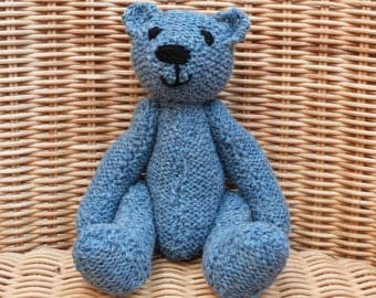 "8"" Handmade little blue  teddy bear old fashioned blue Handmade Bear Vintage Style Knitted Blue Teddy Bear in 100% Wool"