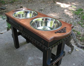 Cherry Stained Top Elevated Pet Feeder, Large Dogs Feeding Station, Dog Bowls, Two quart Paw Print Dog Bowls Made To Order