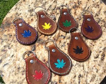 Leather Hemp Leaf Fob Keychain