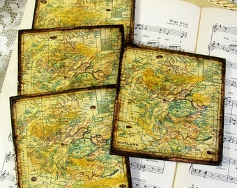 Scotland Art Map Coasters, Old World Scotland, Scottish Coasters, Espresso, Gold Stained, Antiqued Map, Set of 4, Decoupage Wood Coasters