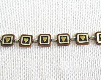 1980s Mexico Heart Bracelet Sterling Silver Copper Enamel FAR FETCHED Co.