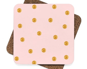 Pink and Gold Polka Dots Square Hardboard Coaster Set  4Pcs Kitchen Home Decor