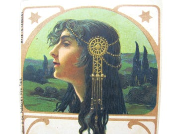 "Art Nouveau Postcard. Jugendstil Lady Profile. ""Regina"" by Unknown Artist. Printed in Germany. Embossed, Rare. Antique 1900s Collectible"