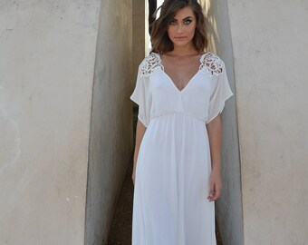 chiffon wedding dress, embroidery top,loose top wedding dress,chiffon boho wedding dress, bohemian wedding dress, lace wedding dress