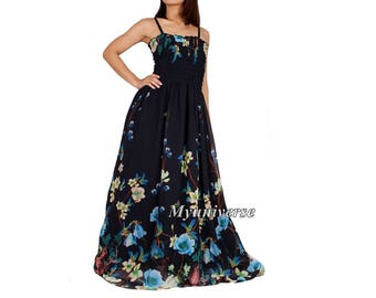Black Maxi Dress Evening Gown Formal Dress Long Plus Size Dress Clothing For Women Clothing Dress Floral Chiffon Haiwaiian Summer Sundress