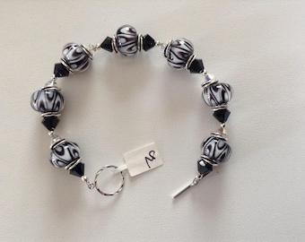 Black and white Lampwork bracelet