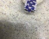 Vintage Handmade Sterling Silver genuine deep blue sapphire earrings