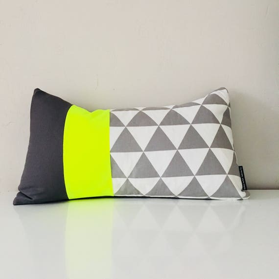 "SALE Gray Triangle Pillow Cover 14""x24"" Lumbar Cushion Cover Geometric Neon Grey Color Block Pillow Cover"