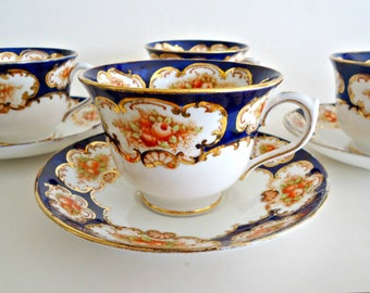 4 Royal Albert Teacup & Saucer Bristol Tea Cup Set 1920's