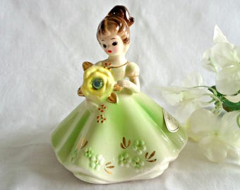 Josef Figurines Vintage Josef Originals August Birthday Girl Figurine Peridot Green Rhinestone