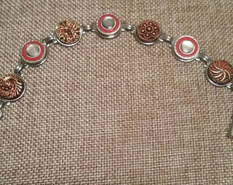 Cufflink Button Bracelet Celluloid and Pearl with Ruby Red Metallic Glass Highly  detailed mens art deco wear pieces of history