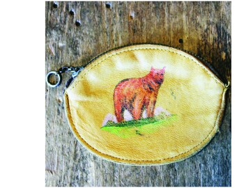 1940s Hand Painted Leather Coin Purse