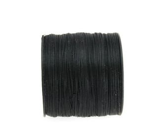 1mm Black  Waxed Polyester Cord, Black Waxed Polyester Thread, Macrame Cord 10m - 11yards S 40 223